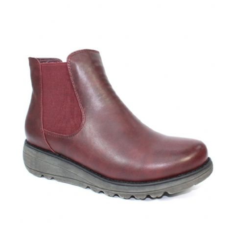 Lunar Womens Dazzle Burgundy Thick Sole Chelsea Boots